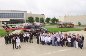 The West Chester Hospital Trauma Team is pictured with hospital staff, AirCare and MobileCare, and the West Chester Township Fire & EMS Department.