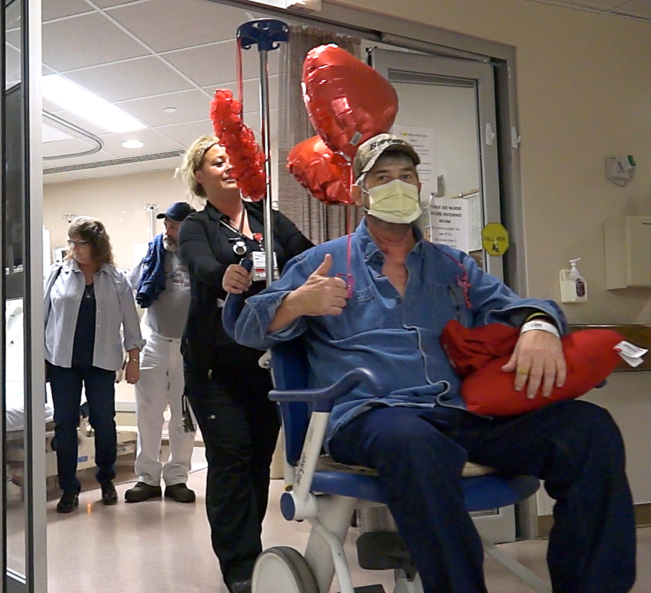 David Waits Leaving Hospital After Heart Transplant Surgery