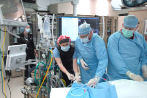Cardiogenic shock team with ECMO equipment