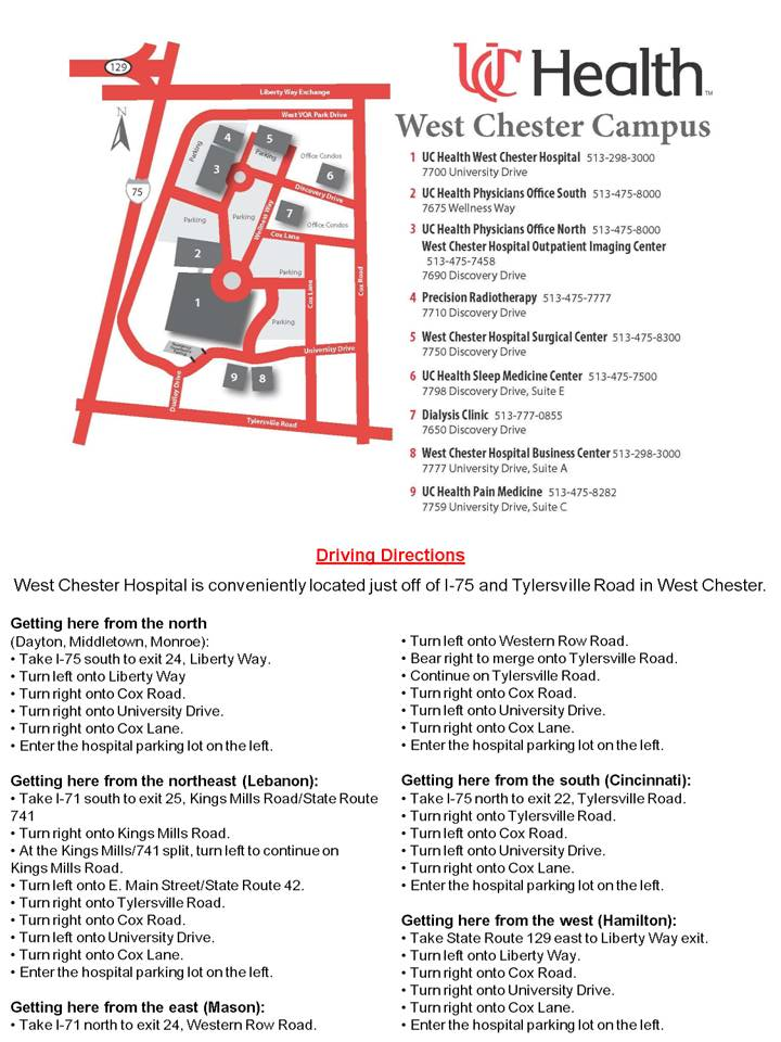 Maps and Directions | West Chester Hospital