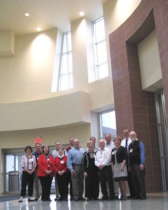 The chaplains are pictured in front of the Faith Center in the main lobby.